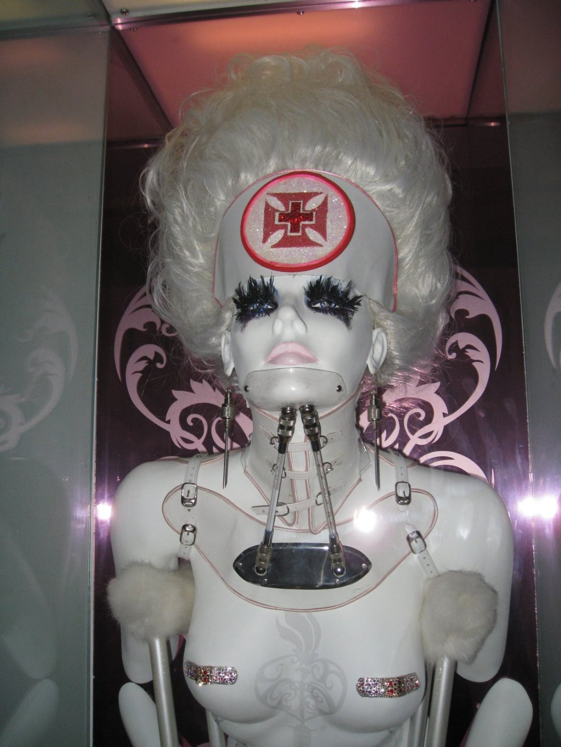 sculpture of a mannequin in a neckbrace from circa nightclub in toronto