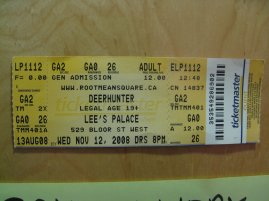 deerhunter lee's palace ticket stub