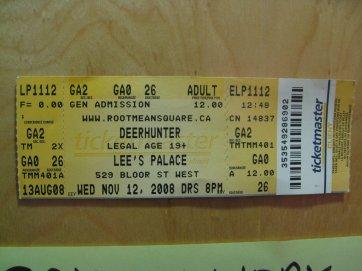 deerhunter lee's palace ticket stub