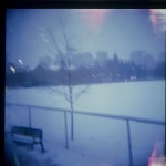 university of toronto st george back campus in the snow, taken with a diana f+, film, analog,