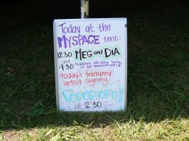 whiteboard announcing meg and dia and paramore appearances at the myspace tent warped tour 2006