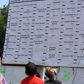 schedule on display at warped tour 2006