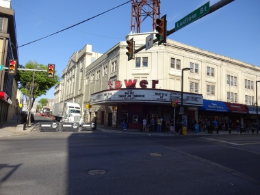 Tower Theater Marquee for WWE NXT Philly Night One from across the street