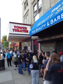Crowd waiting outside the Tower Theater for WWE NXT Philly: Night One