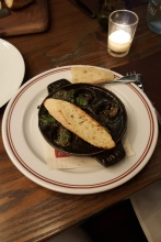 """Escargot Persillade from DBGB in DC City Center. Not my idea, tasted like the """"funny"""" bit of chicken you get if you eat fast food. The malformed part."""